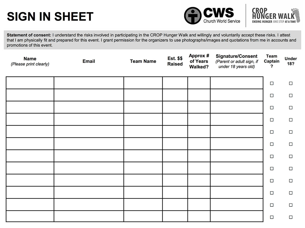 site sign in sheet